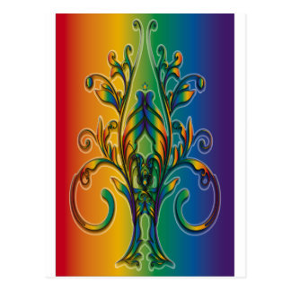 Rainbow Floral Abstract Postcard