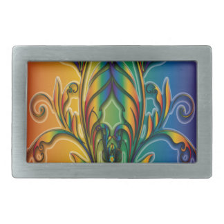 Rainbow Floral Abstract Rectangular Belt Buckle