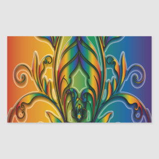 Rainbow Floral Abstract Rectangular Stickers
