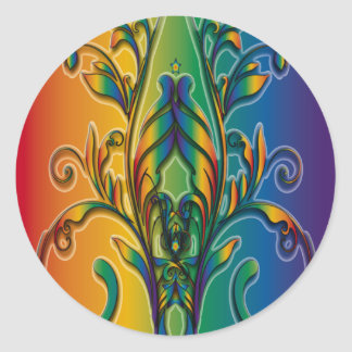 Rainbow Floral Abstract Stickers