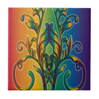 Rainbow Floral Abstract Tile