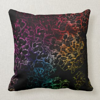 Rainbow Flowers on Black Pillow