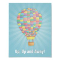 Rainbow Hot Air Balloon Wall Decor Poster | Zazzle