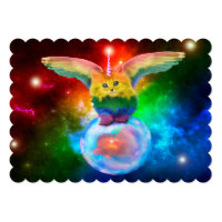 Rainbow Kitten Space Bubble Fish Event Invitations