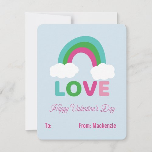 Rainbow Love Childrens Classroom Valentine Holiday Card