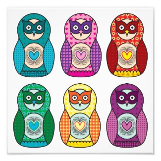 Rainbow Matryoshka Owls photoenlargement