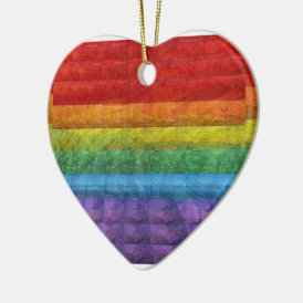 Rainbow Mosaic Gay Pride Flag Ceramic Ornament
