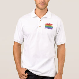 Rainbow Mosaic Gay Pride Flag (Paintbrush) Polo Shirt