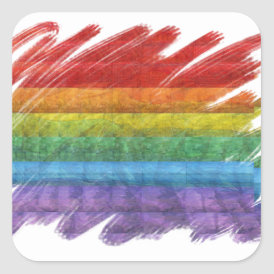 Rainbow Mosaic Gay Pride Flag (Paintbrush) Square Sticker