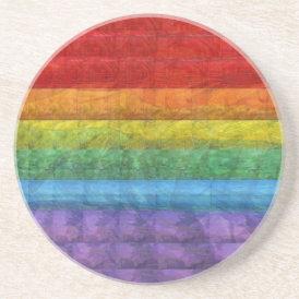 Rainbow Mosaic Gay Pride Flag Sandstone Coaster
