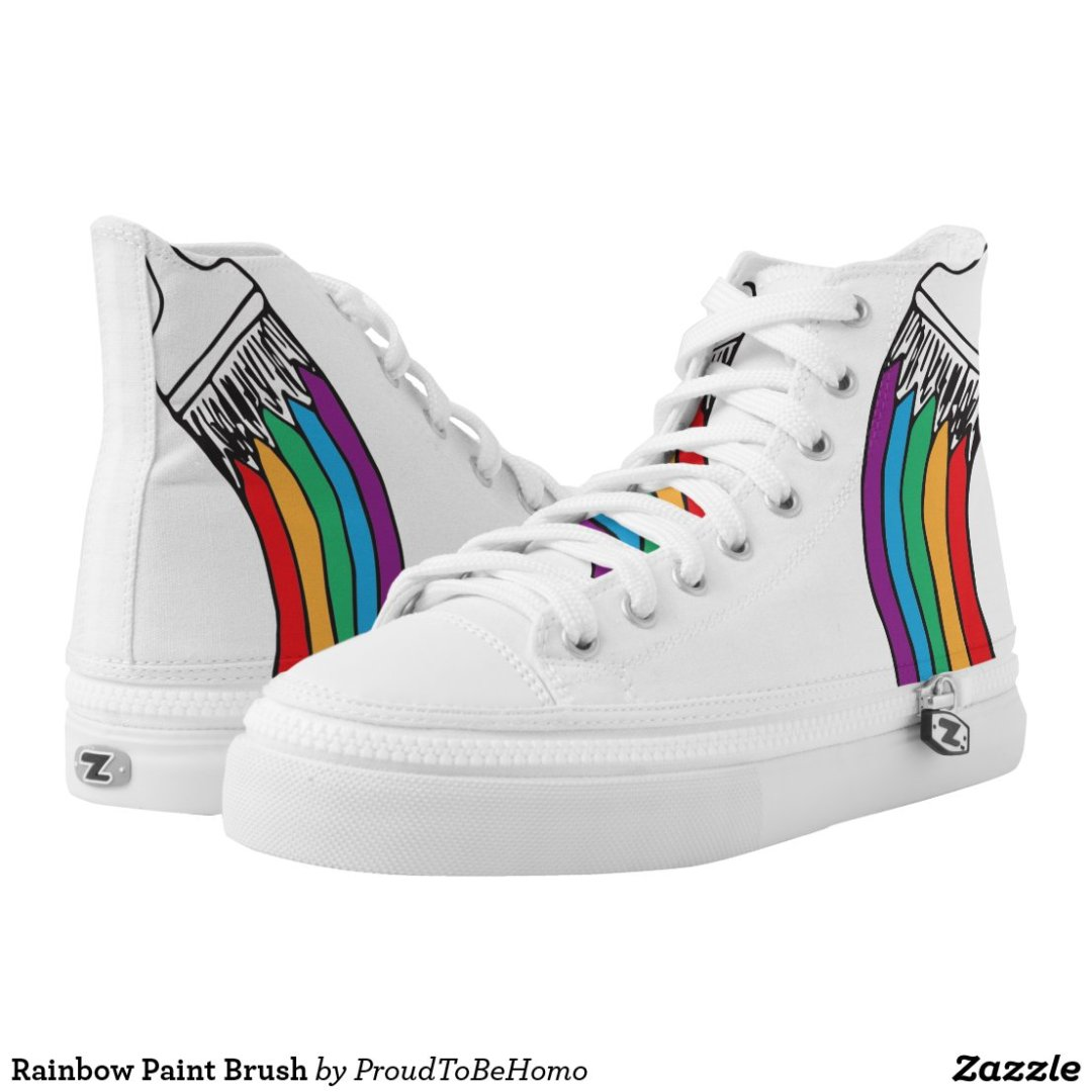Rainbow Paint Brush High-Top Sneakers