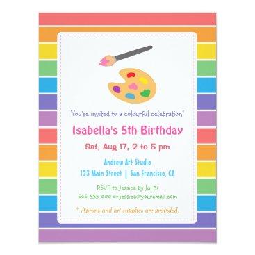 Rainbow Painting Arts Crafts Kids Birthday Party Invitation
