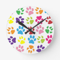 RAINBOW PAW PRINTS ROUND CLOCK