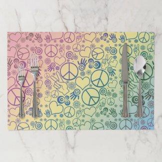 Rainbow Peace Symbol Design Pattern Paper Placemat