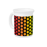 Rainbow Polka Dots Black Beverage Pitcher on Zazzle
