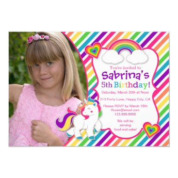 Rainbow Pony Unicorn Birthday Party Invitation