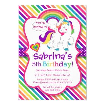 Rainbow Pony Unicorn Birthday Party Invitation