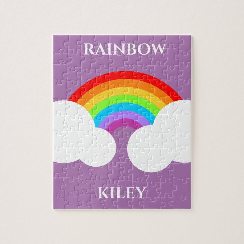 Rainbow puzzle with child's name.