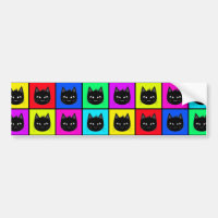 Rainbow Square Cat Pattern Bumper Sticker