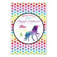Rainbow Stars Unicorn - 3x5 Birthday Invitation