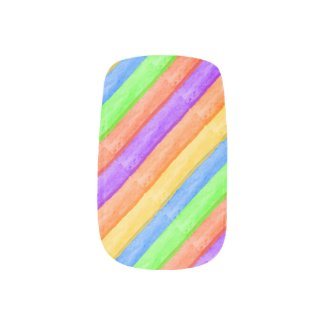Rainbow Stripes Nail Art