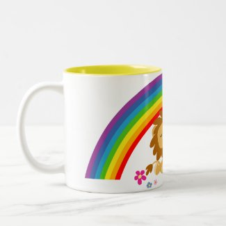 Rainbow Tango-Cute Cartoon Lions Mug mug