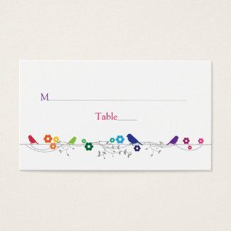 Rainbow Theme Birds Flowers Wedding Place Cards