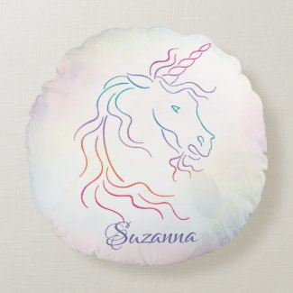 Rainbow Tribal Unicorn Art Design Add Name Round Pillow