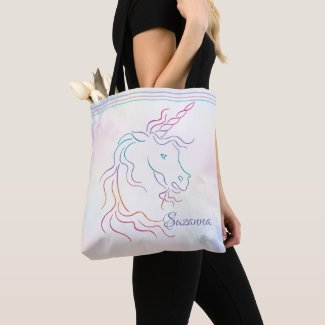 Rainbow Tribal Unicorn Art Design Add Name Tote Bag