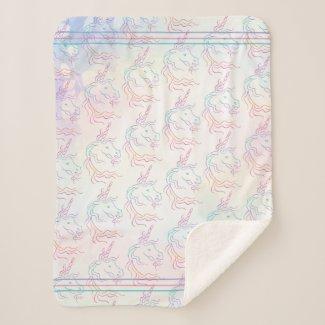 Rainbow Tribal Unicorn Art Design Pattern Sherpa Blanket