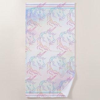 Rainbow Tribal Unicorn Pattern Beach Towel