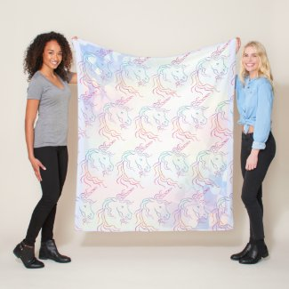 Rainbow Tribal Unicorn Pattern Fleece Blanket