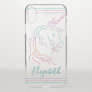 Rainbow Unicorn Art Design Add Name iPhone X Case