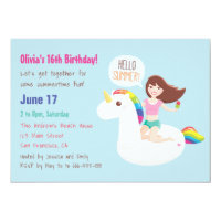 Rainbow Unicorn Float Summer Birthday Party Card