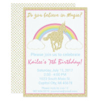 Rainbow Unicorn Glitter Birthday Party Invitation