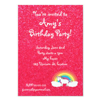 Rainbow unicorn pink glitter invitation