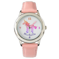 Rainbow Unicorn with Name Personalizable Watch