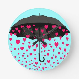 Raining hearts wall clocks