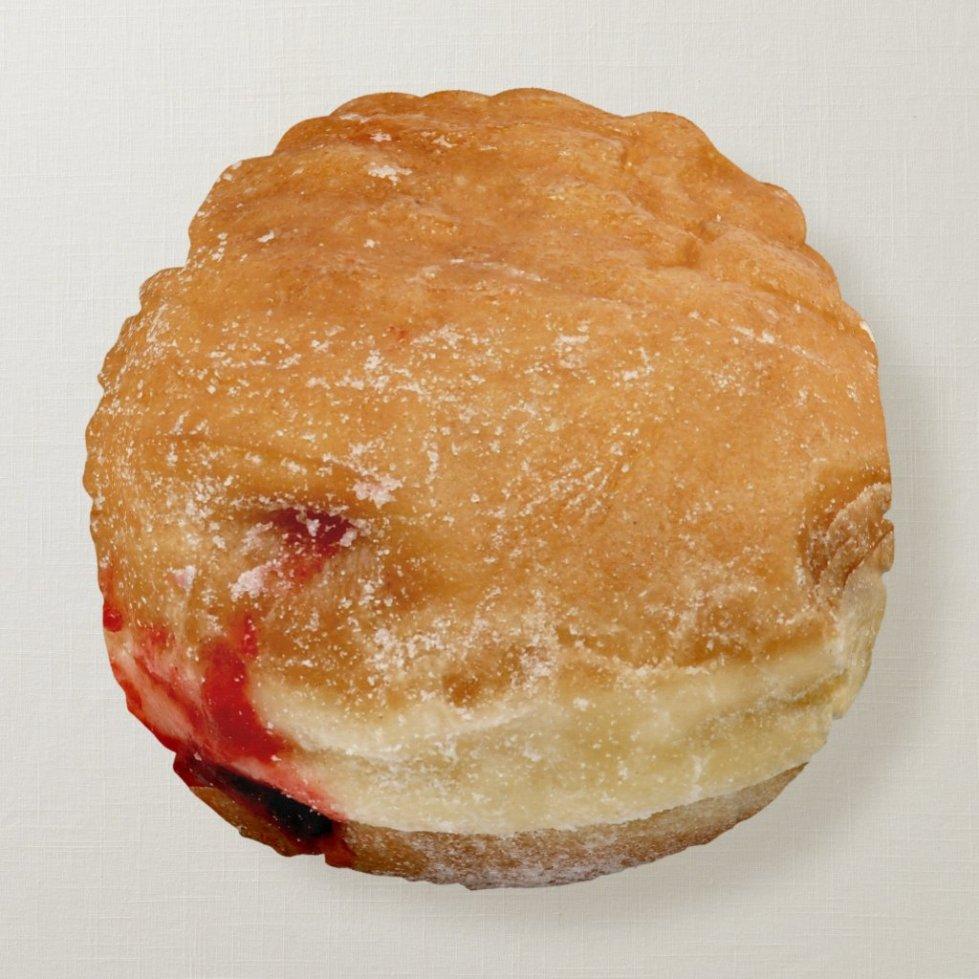 Raspberry Filled Doughnut Round Pillow