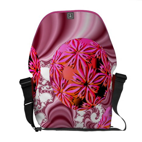 Raspberry Pink Vision, Abstract Snow Flakes Messenger Bag