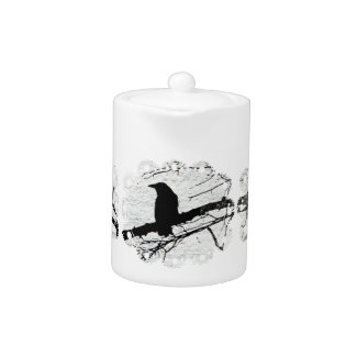 Raven in the snow with lace zazzle_teapot