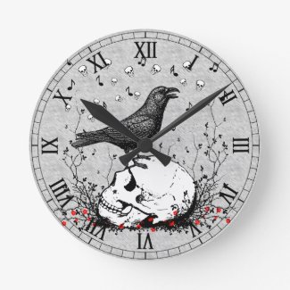 Raven Sings Song of Death on Skull Illustration Round Clock