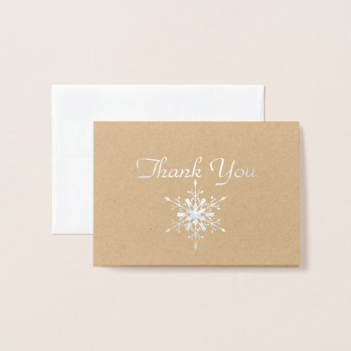 Real Foil Snowflake Thank You Card
