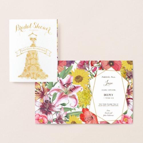 Real Gold Foil Floral Bridal Shower Congratulation Foil Card
