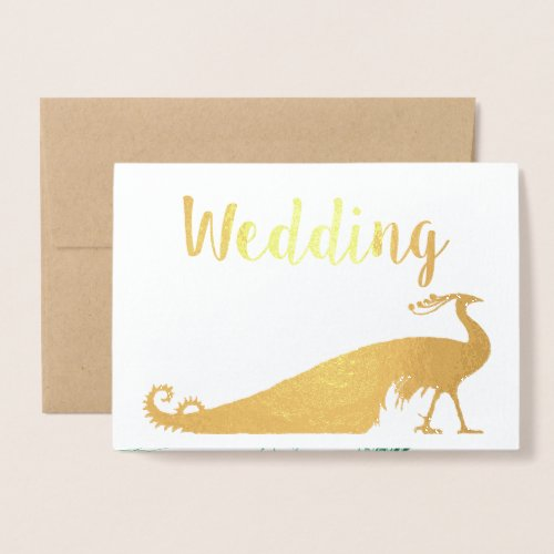 Real Gold Foil Peacock Wedding Invitations
