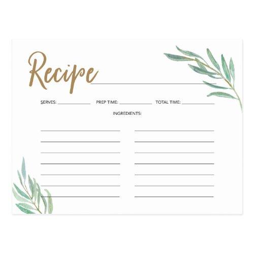 Recipe Cards -Rustic Greenery Bridal Shower Recipe