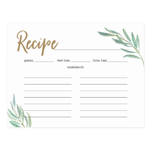 Recipe Cards -Rustic Greenery Bridal Shower Recipe