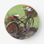 recycled flower bicycle round clock