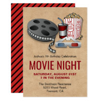 Red and Beige Movie Night Birthday Party Invite