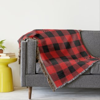 Red and Black Buffalo Plaid Throw Blanket